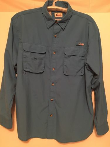Mens World Wide Sportsman Long Sleeve Vented Angler Fishing Shirt XL Blue
