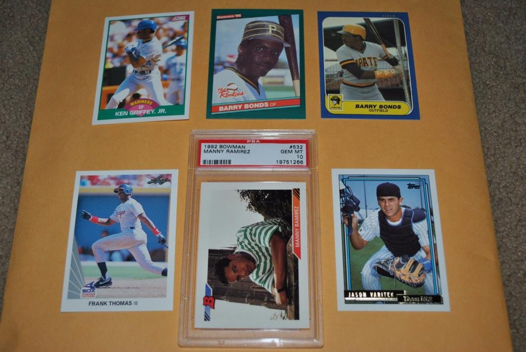RC LOT w/ 1992 BOWMAN MANNY RAMIREZ PSA 10, BONDS, FRANK THOMAS, GRIFFEY & MORE
