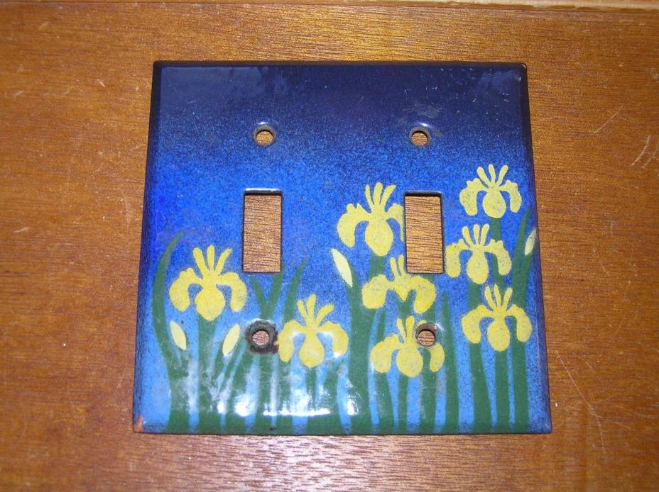 Estate Graded Blue Enamel with Yellow Daffodil Flowers Copper Metal Double Light