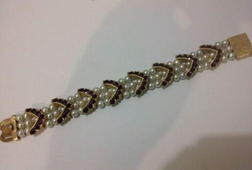 14k gold Lucien piccard pearl bracelet 1965 elegant