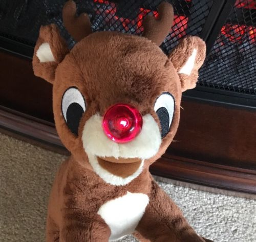 Rudolph The Red Nosed Reindeer Blinking Nose Music Plush 12