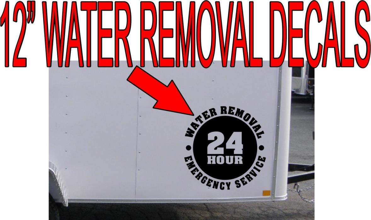 24 hour emergency water removal decal stickers set of 2  carpet cleaning truck
