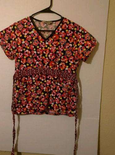 Women's Comfy Cotton 100% cotton Floral Scrub Top, Size XS
