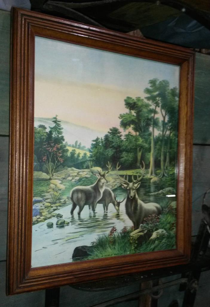 ORIGINAL 1911 JAMES LEE CHICAGO A NOBLE FAMILY- LARGE DEER /MOUNTAIN SCENE PRINT