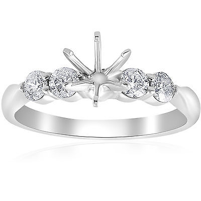 1/2ct Diamond Semi Mount Engagement Ring 14K White Gold Solitaire Setting Round