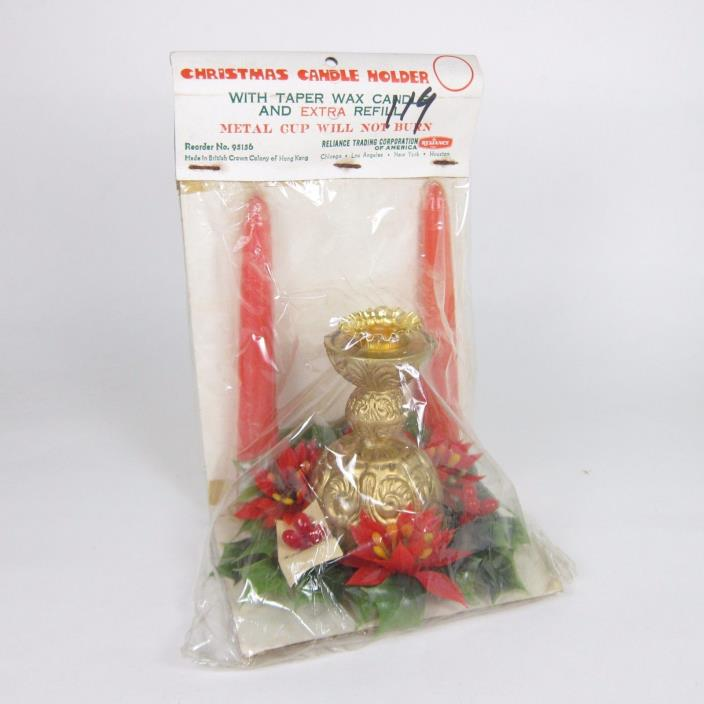 Vintage Christmas Candle Holder in Package Reliance Taper Candle Ring Holiday