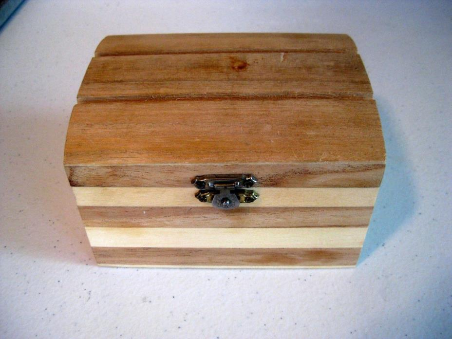 Greenbrier small unfinished natural wood box, front metal latch, crafts
