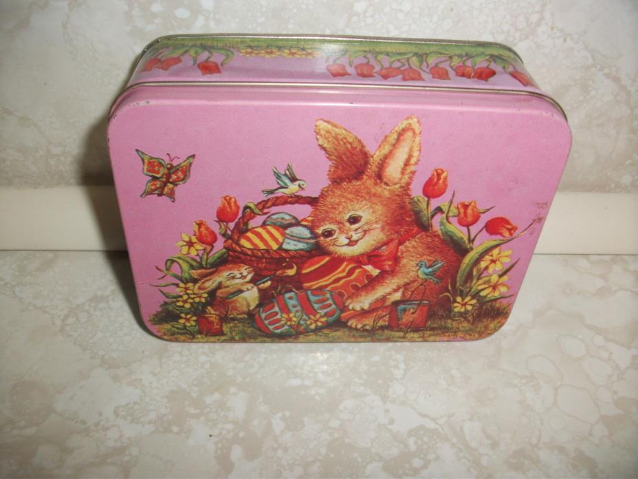 Vintage Easter Metal Tin Giftco Hong Kong Bunny Rabbit Chic Flowers Eggs Basket