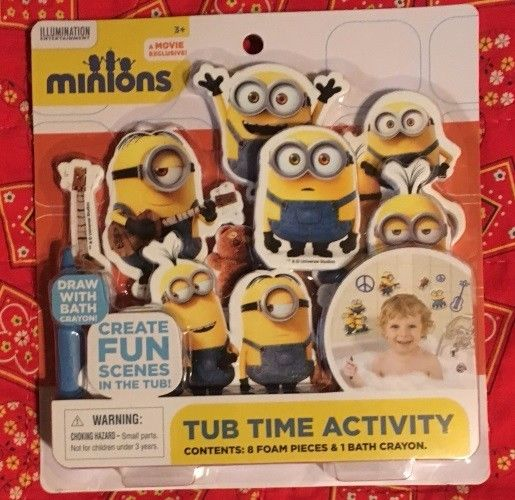 NIP Minion Tub Time Activity Set. 8 Foam Pieces & 1 Bath Crayon, Draw and Create