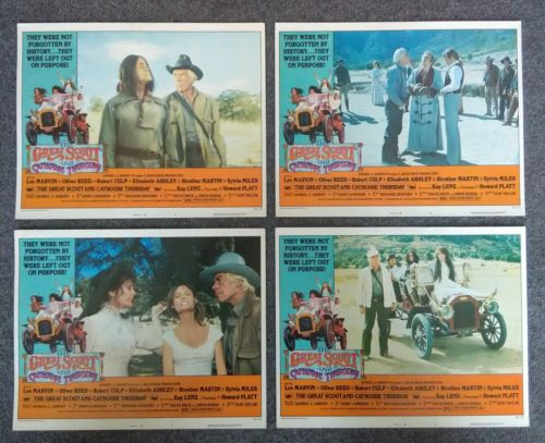 1976 The Great Scout and Cathouse Thursday, Orig Lobby Cards Set 2 LEE MARVIN