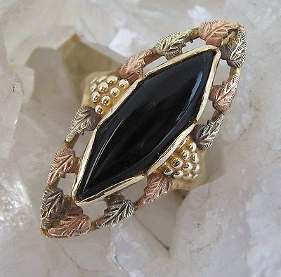 Onyx Tri Gold Navette Ring Vintage 10K Yellow Rose Green Black Hills Gold BHG