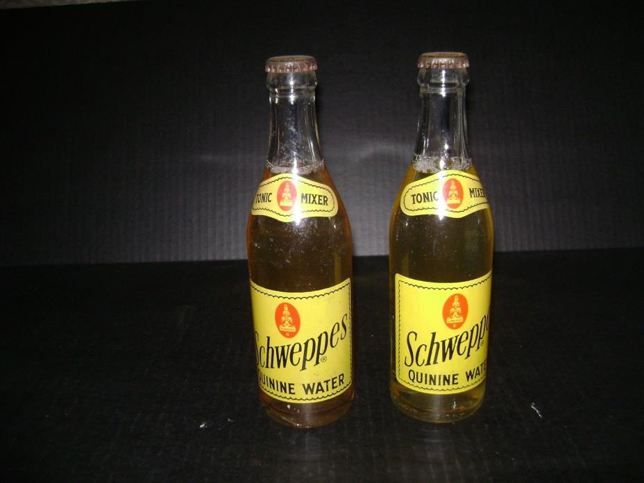 2 Vintage Full Bottles of Schweppes Quinine Water 10 Fl. Oz. ACL,Painted Label