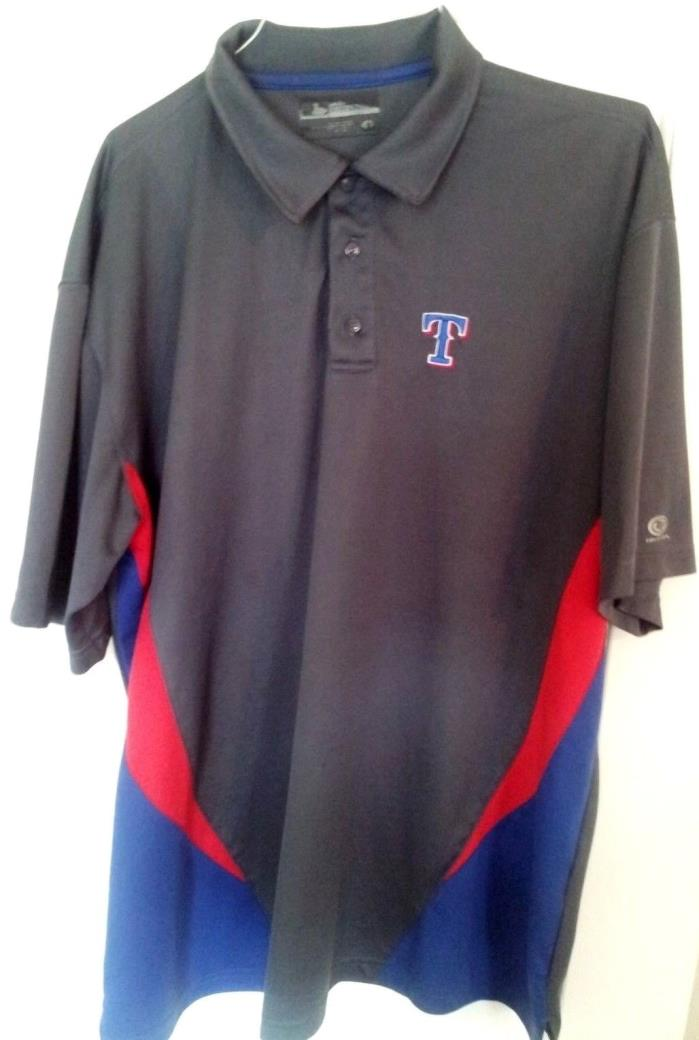 Texas Rangers-MLB Baseball Team Logo Polo Shirt-Gray-Red/Blue-XL-Short Sleeves