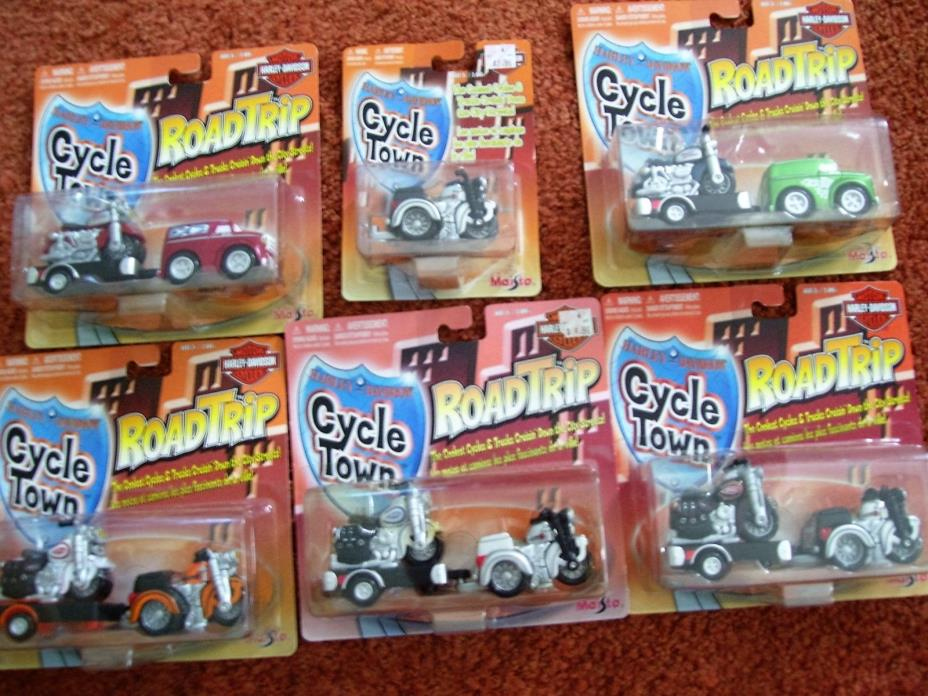 LOT OF 6 NIB HARLEY DAVIDSON MOTORCYCLES MAISTO CYCLE TOWN ROAD TRIP SPORTSTER