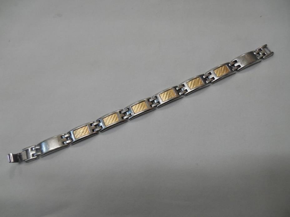 Mens Stainless Steel w Checkered 18K Yellow Gold Links Bracelet Signed G Halo 9