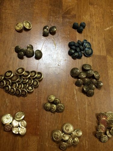 80 Plus Vtg Buttons, Coat of Arms,  Bright Brass, Military Style-Shank-Assorted