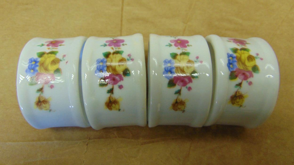 Napkin Rings Porcelain Yellow Rose Floral  Lot of 4 Vintage