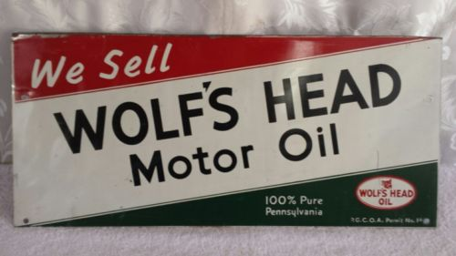 Wolf's Head Motor Oil Advertising Sign ~ Garage Find ~