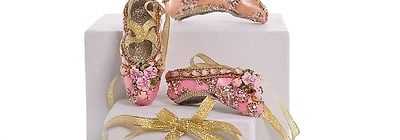 Katherine's Collection ballet slipper ornament pink 3 flowers 3.5