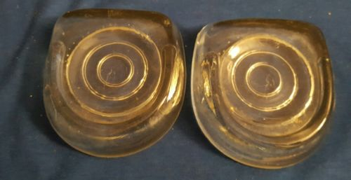 Heavy Horseshoe Thick Clear Glass Furniture Coasters Floor Protectors - Set of 2