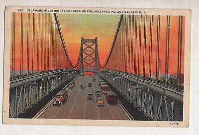 Vintage 1943 Postcard - Delaware River Bridge, Philadelphia, PA to Camden, N. J.
