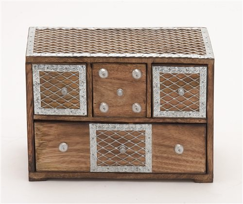 Fashionable Box With Drawers & Metal Inlay