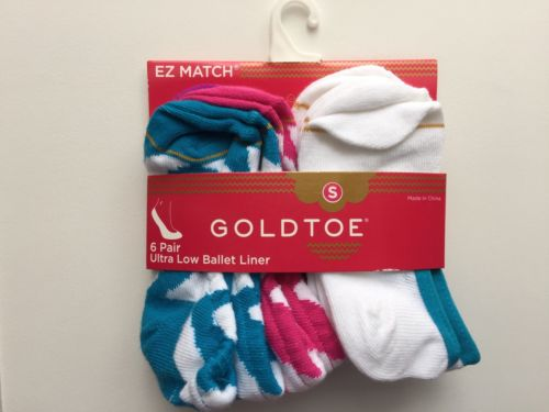 Gold Toe 6 pair Ultra Low Ballet Liner Girls Socks sz S Baby Toddler shoes 3-8