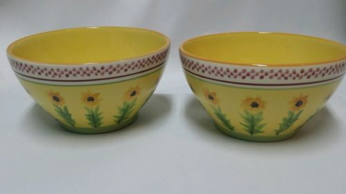 Pfaltzgraff Pistoulet Kolpen Deep Soup Cereal Salad Bowl Sunflowers lot of 2