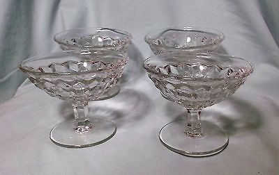 Indiana Whitehall Cubist Footed Stemware Crystal Glass dessert dish lot of 4