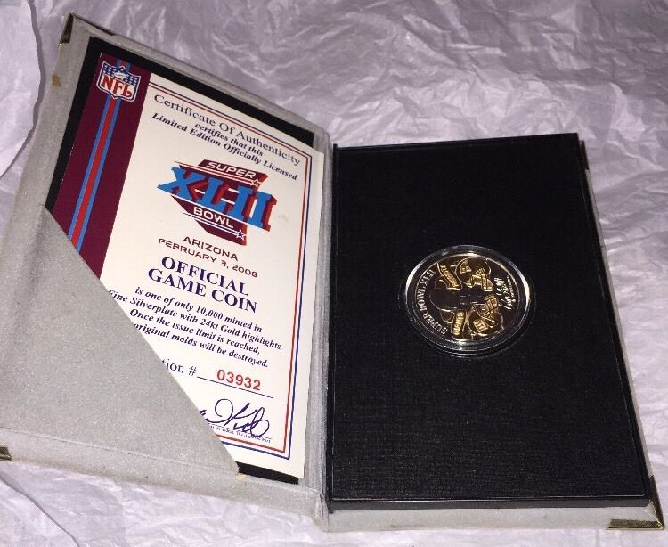 Authentic NFL Super Bowl XLII 42 in Arizona Official Game Coin in Original Case
