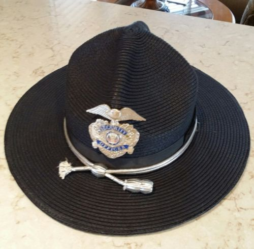 Trooper Security officer blue Drill Sergeant Hat Hard shell USA 7 5/8