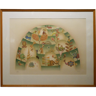 David Sharir Whimsical Pochoir Print