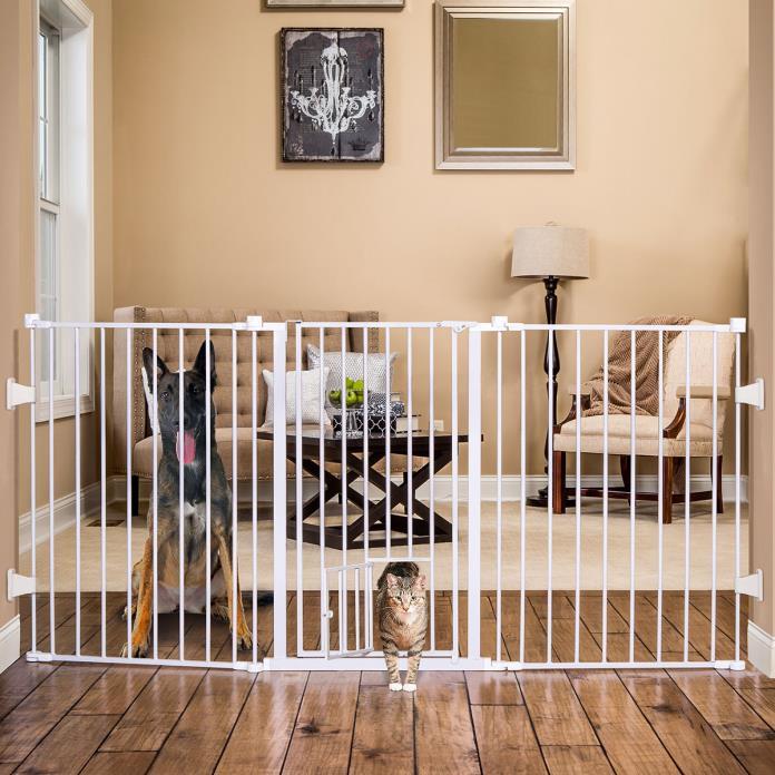 Pet Supplies Dog Cat Gate Extra Tall Steel Walk Thru Gate w/ Small Door New
