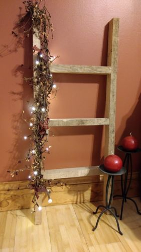 Rustic Decorative Wooden Ladder Primitive