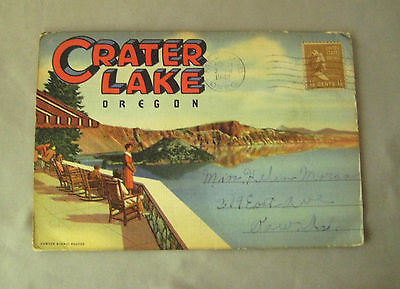 Crater Lake Oregon postcard folder foldout Postmarked 1942