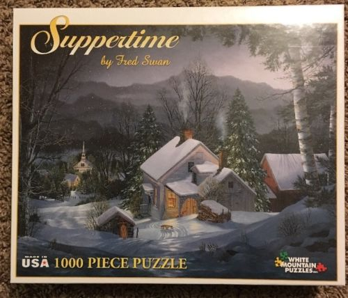 New SUPPERTIME 2001 White Mountain PUZZLE 1000 Pieces Winter Scene FRED SWAN
