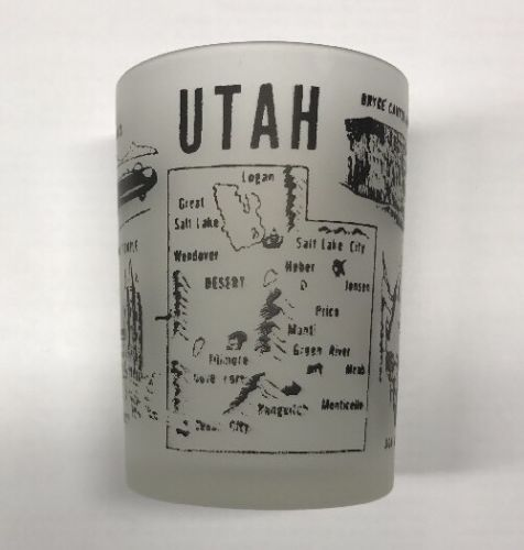 Vintage Hazel Atlas Utah Frosted 4 oz Shot Glass Zion National Bryce Canyon