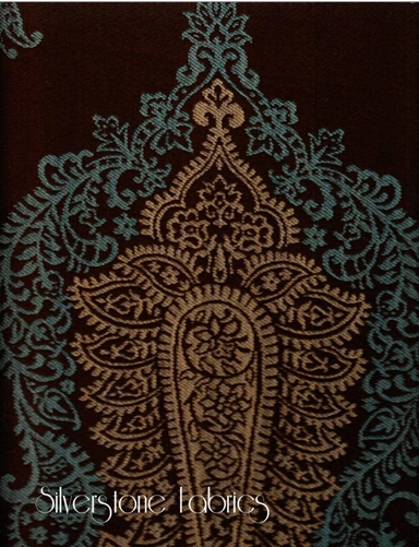 8 yards Large Paisley Upholstery Fabric Teal and Tan on Brown Base AC6