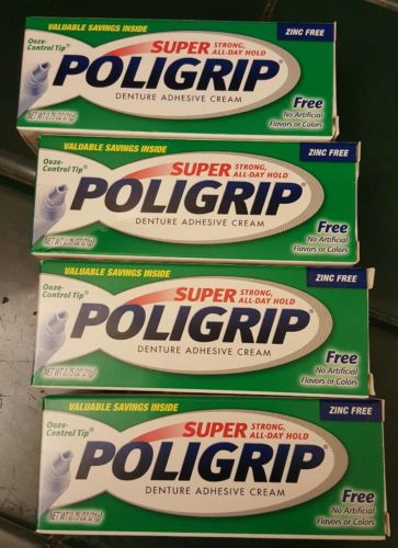 (4) Super Poligrip Denture Adhesive Cream