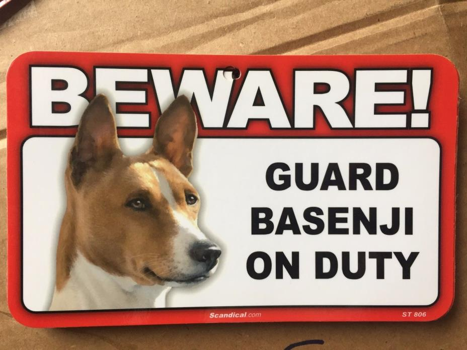BEWARE Guard Basenji On Duty 5x8