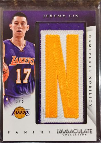 2014-15 Immaculate Jeremy Lin Nameplate Nobility Patch 3/3 Rare eBay 1/1