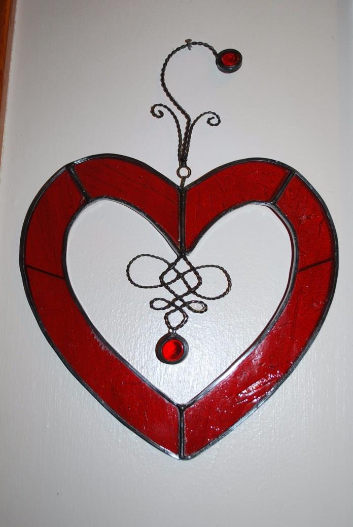 Beautiful Red Heart Shaped Stained Glass Window Sun Catcher
