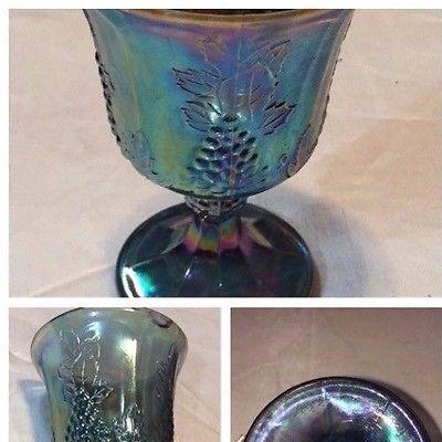 VINTAGE INDIANA CARNIVAL GLASS IRIDESCENT BLUE HARVEST GRAPE GOBLET