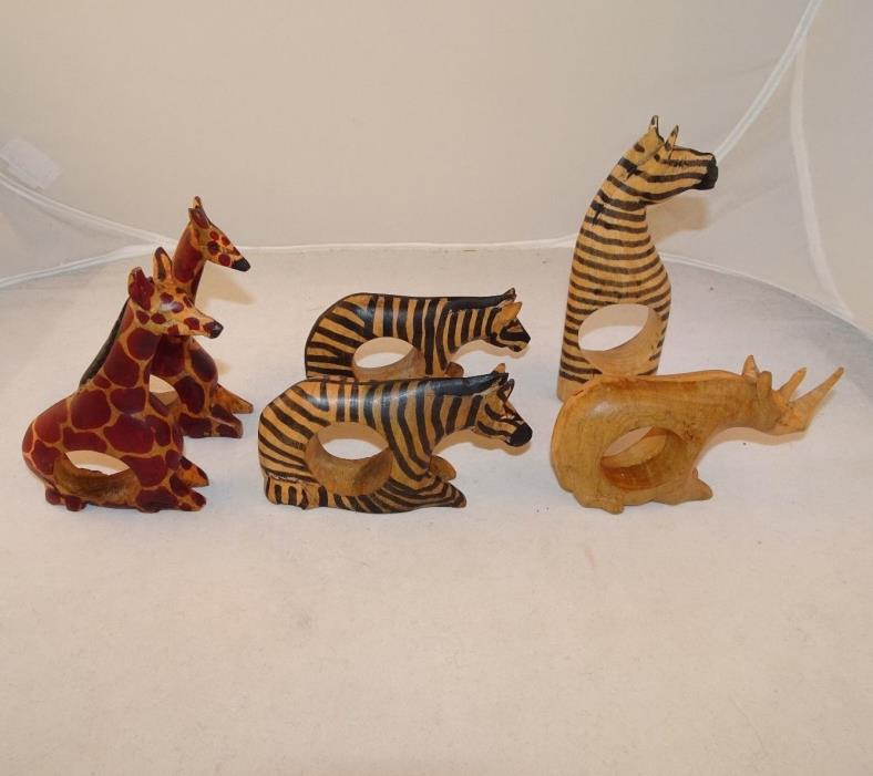 6 African Safari Animal Wood Napkin Holders Rings Hand Carved