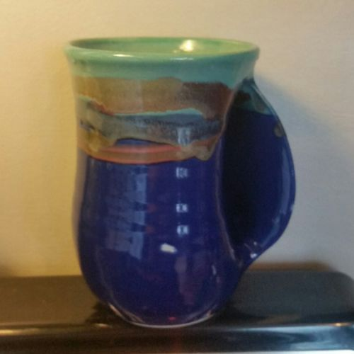 Clay In Motion Neher Pottery Handwarmer  Mug Mystic Waters Right Hand