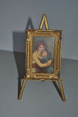 Dollhouse Miniature Easel Print Victorian Mother Daughter Made Italy Vintage