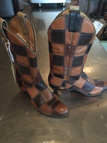 Vintage Cowboy Boots Laramie Patchwork Handmade