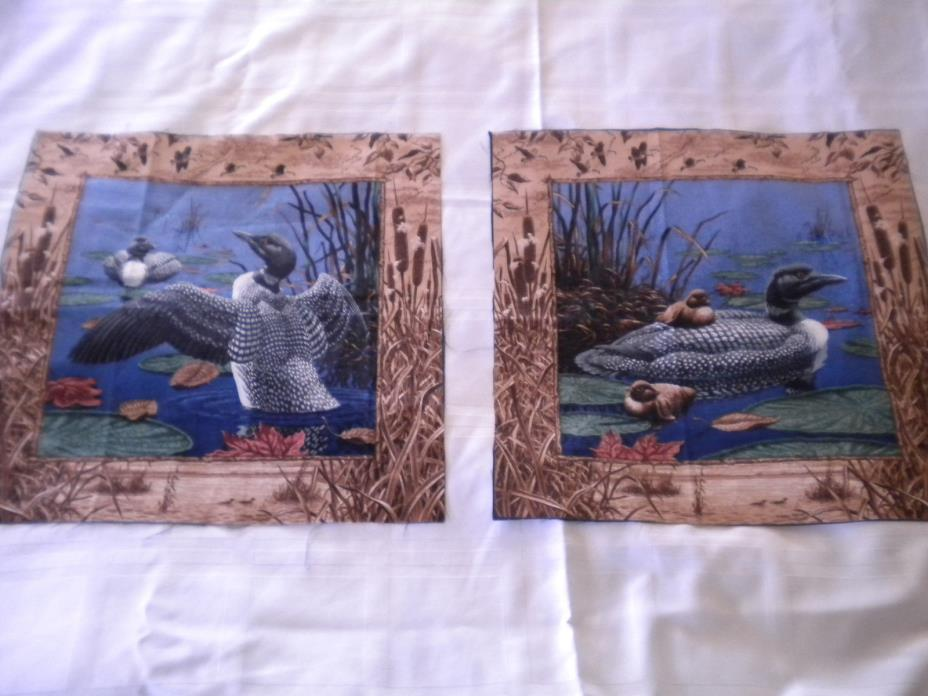 2 Ducks  fabric pillow panels  Cotton Lot 4 FREE SHIP