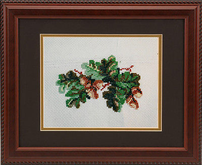handmade cross stitch acorns oak embroidery needlework craft gift home decor