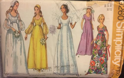Simplicity 9260 size 12 bust 34 Misses Wedding or Bridesmaid Dress & Cap pattern